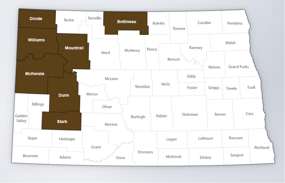 north dakota operations counties