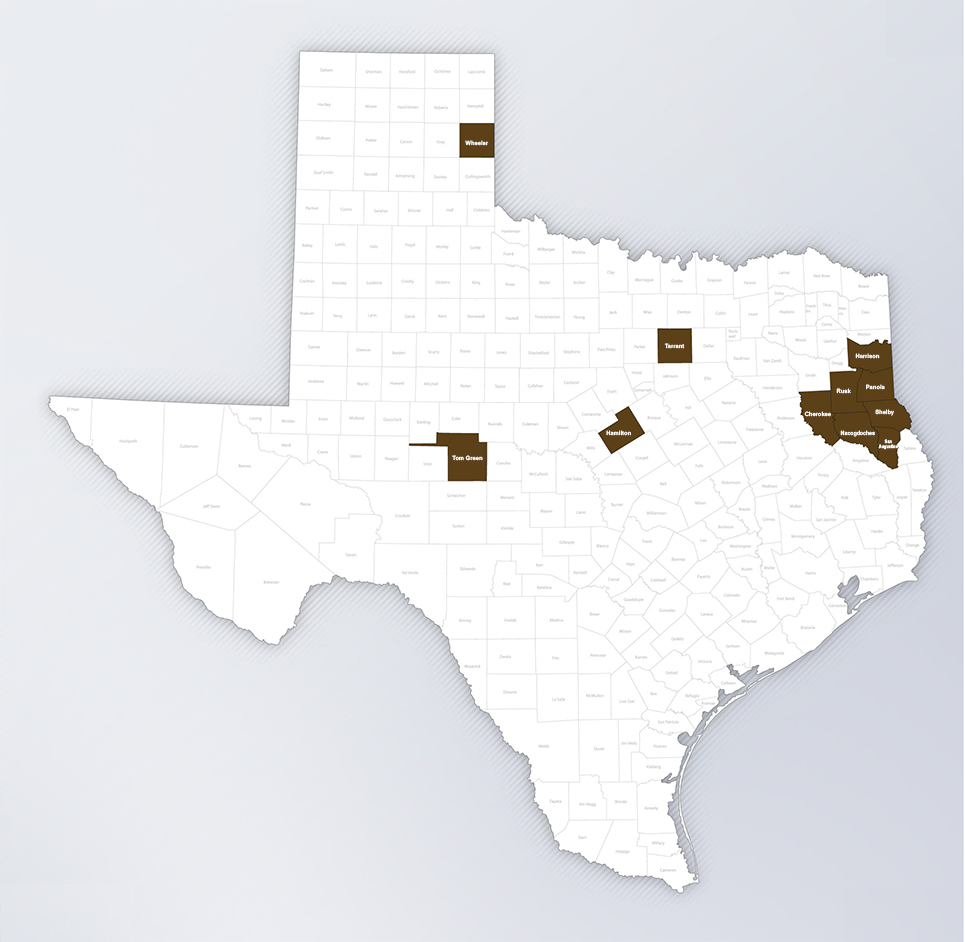 texas operations counties